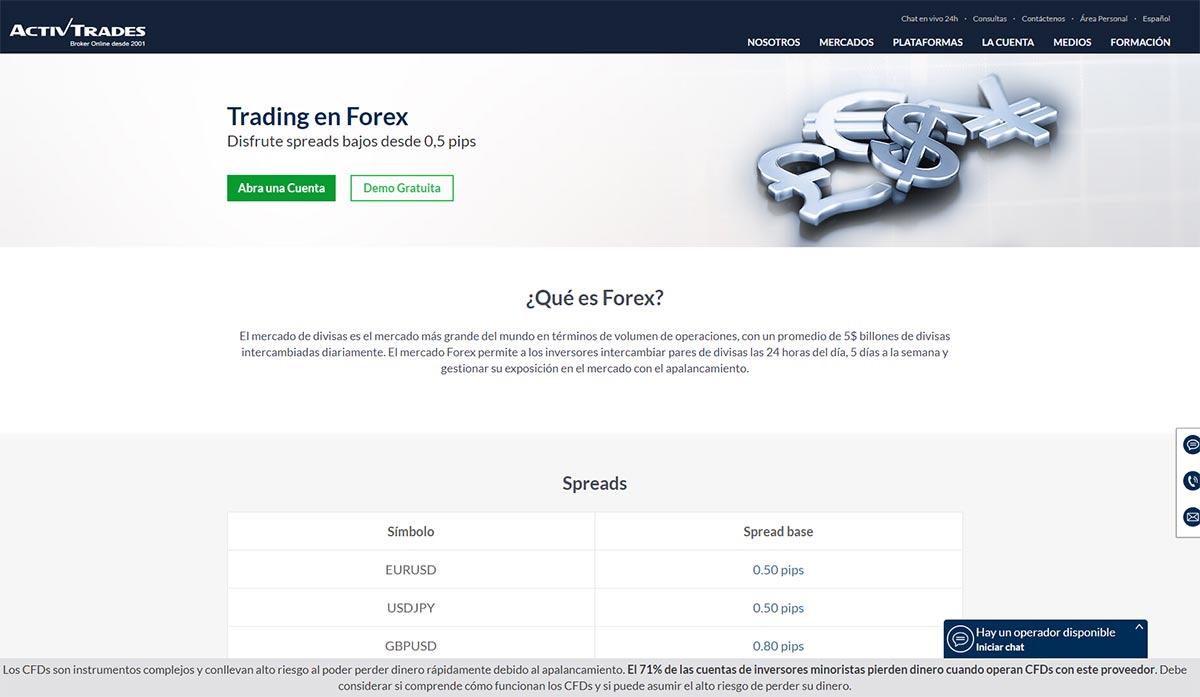 Página web de ActivTrades