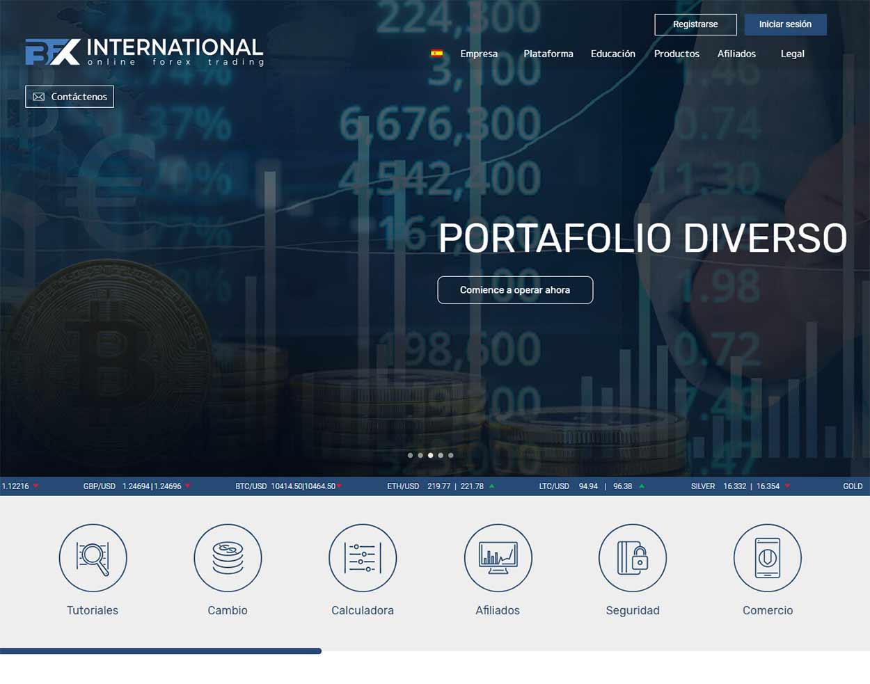 Página web de BFX International