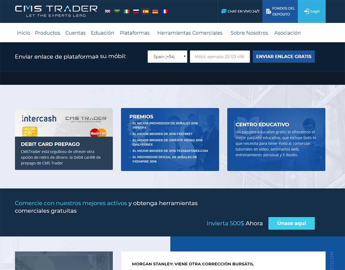 Página web de CMSTrader