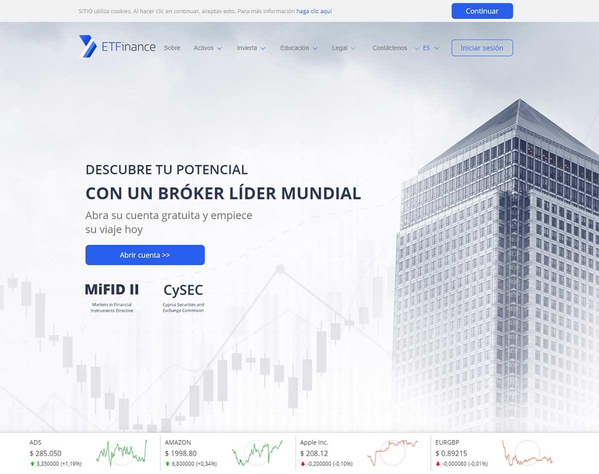 Página web de ETFinance