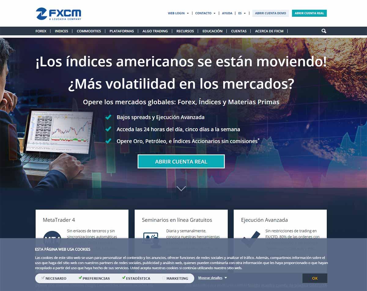 Página web de FXCM