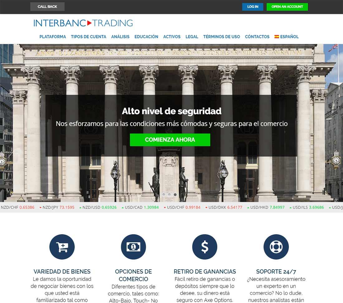 Página web de INTERBANC TRADING