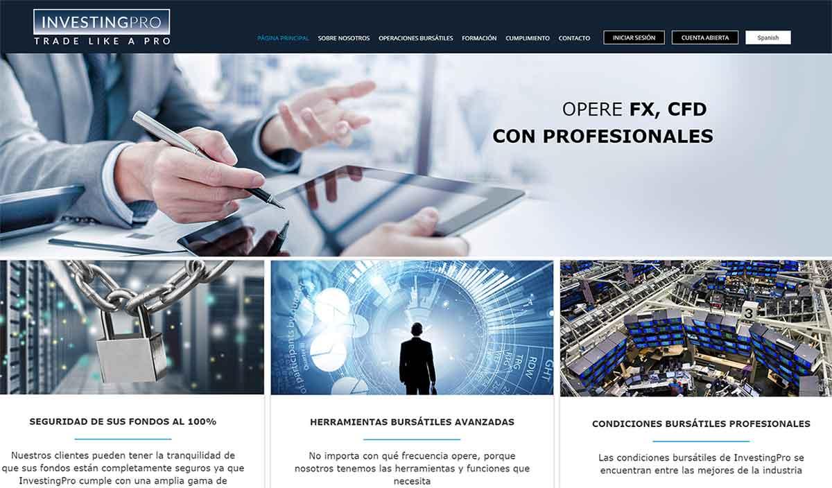Página web de InvestingPRO