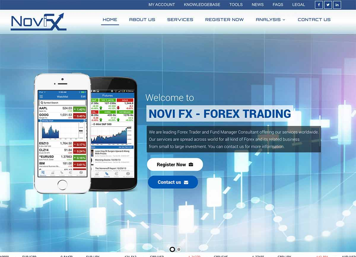 Página web de Novi FX