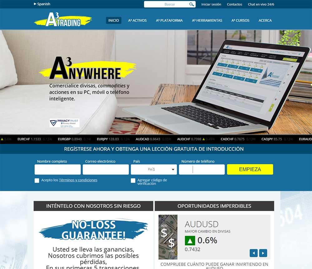 Página web de A3 Trading