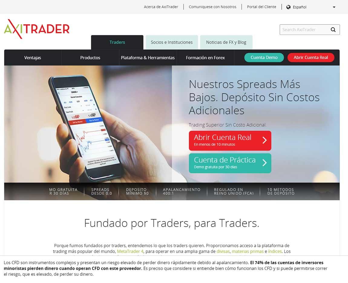 Página web de AxiTrader