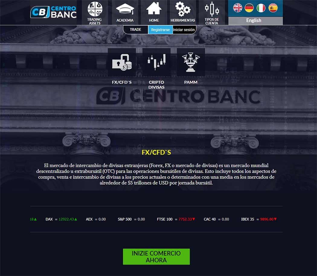Página web de Centro Banc