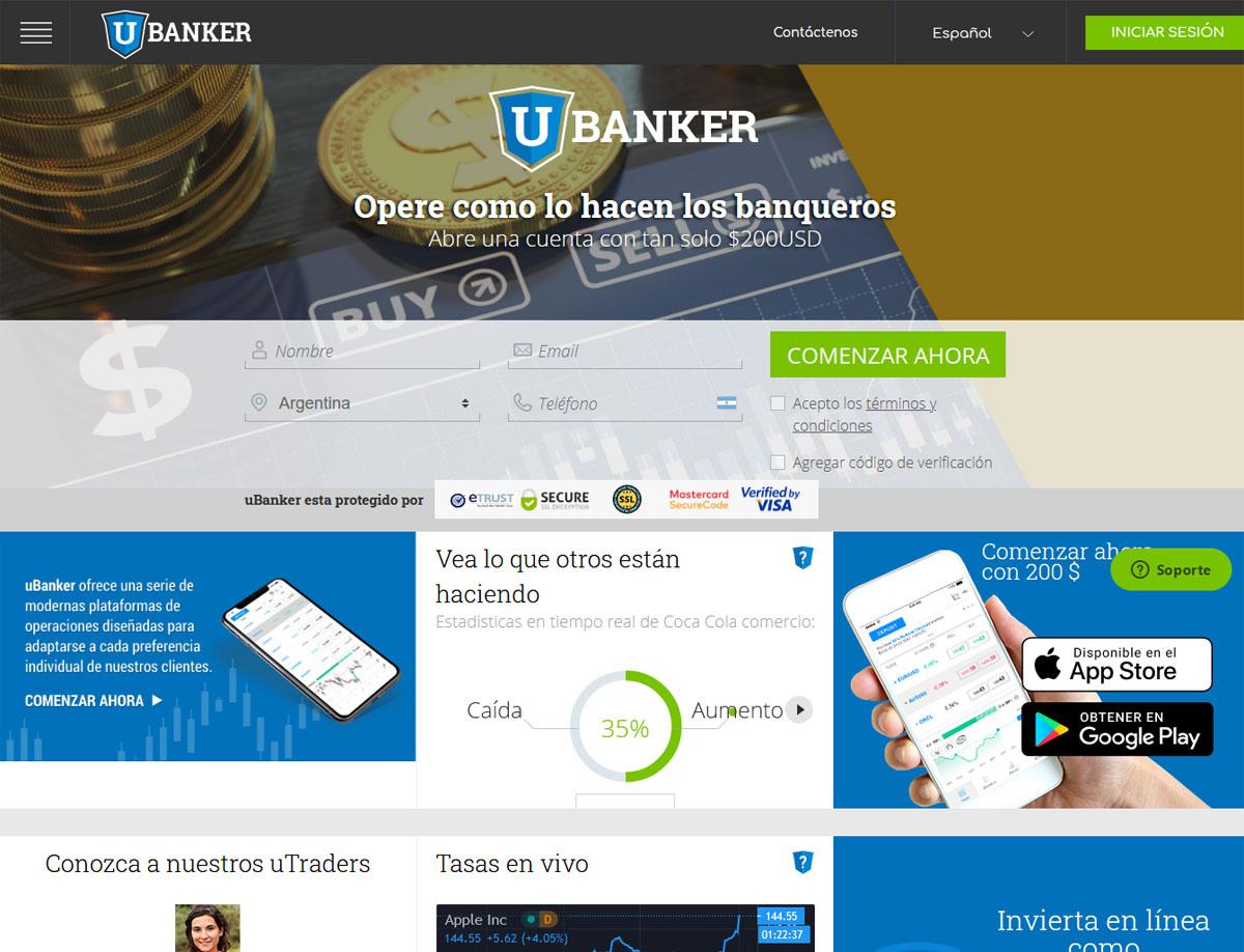 Página web de uBanker